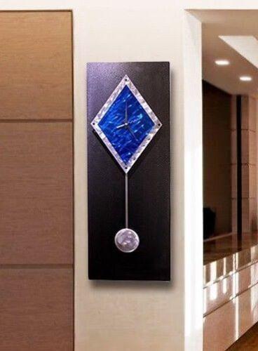 Statements2000 Metal Wall Clock Pendulum Art Modern Black Blue Decor Jon Allen