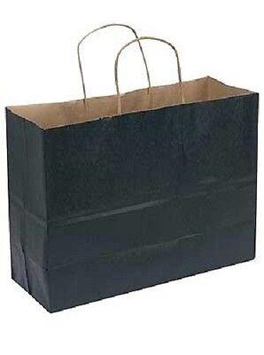 Paper Shopping Bags 100 Large Black Kraft Gift Merchandise 16 X 6 X 12