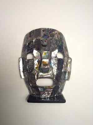 Mayan Patchwork Pieced Burial Mask Statue Abalone Sea Shells Mosaic for sale  North Hollywood