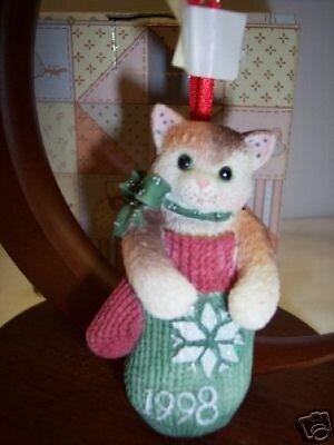 Calico Kittens MITTEN Dated '98 Ornament 359645~ NIB ** FREE 1st CLASS SHIP USA