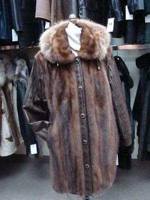 HIGH FASHION NEW MINK FOX FUR SUEDE JACKET COAT WOMEN