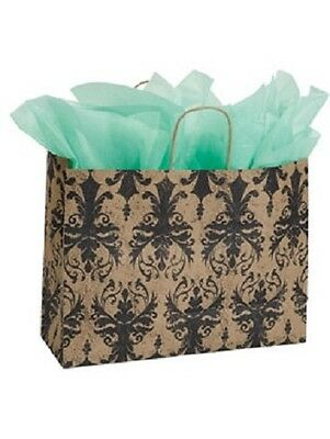 Paper Shopping Bags 25 Large Distressed Damask Retail Gift 16 X 6 X 12