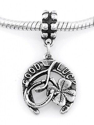 STERLING SILVER DANGLE GOOD LUCK ITEMS EUROPEAN BEAD - Good Luck Items