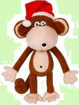 NWT Bobby Jack stuffed SOFT plush MONKEY santa hat CHRISTMAS toy STOCKING ~16