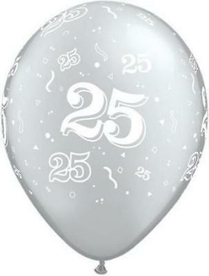 25th Silver (28cm) Latex Balloons Birthday Party or Anniversary Decoration