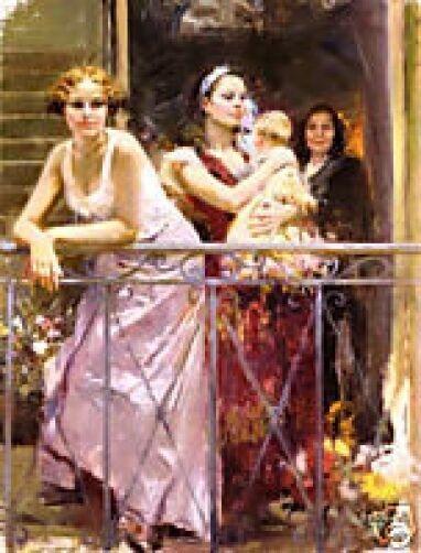 "Pino Hand S/N Embellished  ""Waiting on the Balcony"" Beautiful Women Child 48x36"