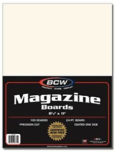 Pack / 100 BCW Magazine Size ACID FREE Backing Boards backer board