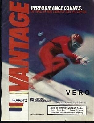 1986 magazine ad VANTAGE cigarettes advertisement skier performance down hill