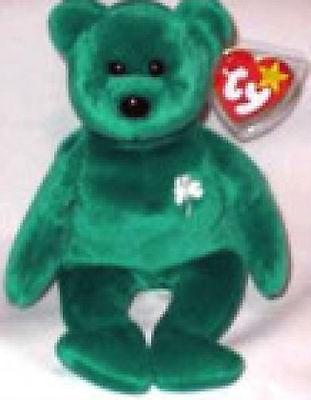 Ty St Patrick's Irish Lucky Green Erin Beanie Baby Shamrock Collectors Quality