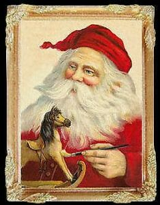 CHRISTMAS-SANTA-Dollhouse-Picture-FRAMED-Miniature-Art
