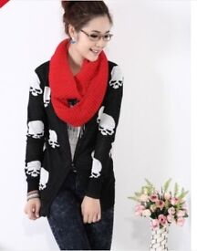 LADIES Skull Pattern Cardigan Sweater Trendy Knitwear Long Tops