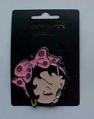 Betty Boop Plastic Head Shapped Pin Back Button  Vintage 1990