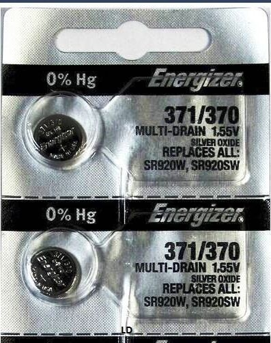 ENERGIZER 371 370 SR920W SR920SW (2 Pieces) Brand New Battery Authorized Seller