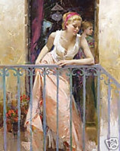 "Pino ""At the Balcony"" Embellished Stretched S/N Canvas 40x32 Lady on Balcony"