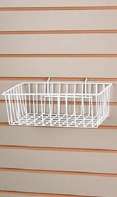 5 Baskets Wire Slatwall 12 X 8 X 4 Pegboard Display Basket Slat White