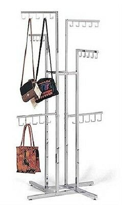 Handbag Purse Display Rack Chrome 4-way W 30 J-hooks Adjustable 48 - 72 Silver