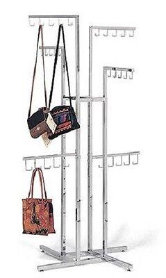 Handbag Purse Display Rack Chrome 4-way W 30 J-hooks Adjustable 48 - 72 Silver