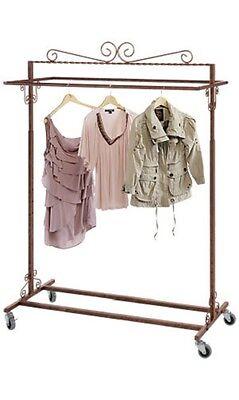 Clothing Rack Boutique Double Bar Rail Salesman Rolling Salesman Retail Garment