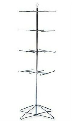 Wire Spinner Rack 4 Tier 24 Peg Rotating Chrome Floor Stand Capacity 50 lb 63 ½""