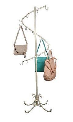 Spiral Handbag Purse Rack Floor Tree Display Ivory 6 T X 17 14 Hooks Hand Bag