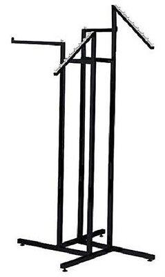 Clothing Rack 4 Way Slant Straight Arms Black Clothes Adjustable Garment Retail