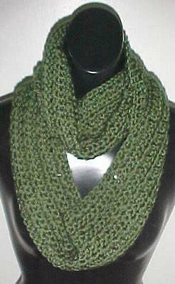 Hand Crochet Loop Infinity Circle Scarf/Neckwarmer #248-Olive New