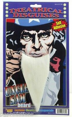 UNCLE SAM PATRIOTIC BEARD White Fu Manchu Costume Fake Facial Hair Goatee USA