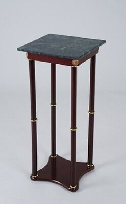 Base Plant Stand - Plant Stand Side Table, Green Marble Square Top and Cherry Finish Wood Base