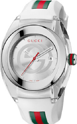 Gucci SYNC YA137102 Stainless Steel Watch With White Rubber Band Watch Steel White Rubber Watch