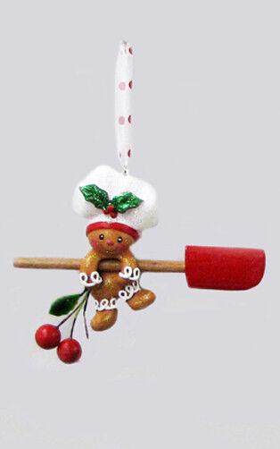KURT S. ADLER HANDPAINTED GINGERBREAD BOY BAKER w/SPATULA CHRISTMAS ORNAMENT