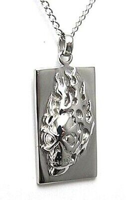 Flaming Skull Necklace Dog Tag Hypoallergenic Surgical Steel 22 inches Biker New - Flaming Skull Necklace