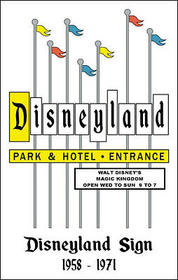 Disneyland Sign Poster 1958- 1971 Marquee Entrance Disney - Buy Any 2 Get 1 Free