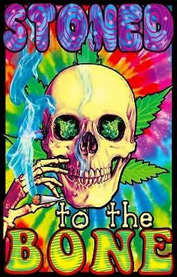 STONED TO THE BONE - SKULL BLACKLIGHT POSTER - 24X36 POT MARIJUANA WEED 1977