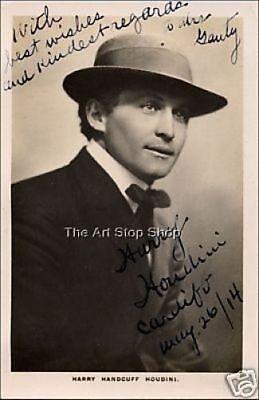 Harry Houdini autograph photo print