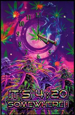 IT'S 4:20 SOMEWHERE - WEED BLACKLIGHT POSTER - 24X36 MARIJUANA POT SMOKING 1933