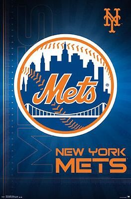 NEW YORK METS - LOGO POSTER - 22x34 MLB BASEBALL 14689