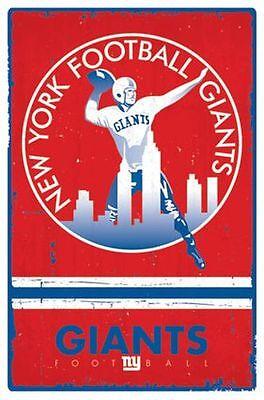 NEW YORK GIANTS - RETRO LOGO POSTER - 22x34 NFL FOOTBALL NY 14256