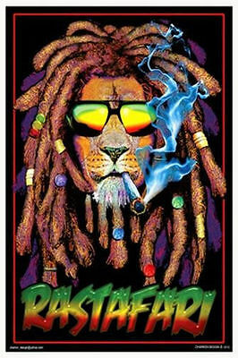 RASTAFARI LION - MARIJUANA BLACKLIGHT POSTER - 24X36 POT WEED SMOKING 1953