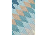 NEXT Teal Blue Wool Pixel Diamond Rug 100% Wool 140x200cm BRAND NEW WITH TAGS