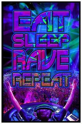 EAT SLEEP RAVE REPEAT - BLACKLIGHT POSTER - 24X36 FLOCKED PARTY DJ - Blacklight Parties