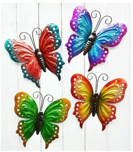 Set of 4 Colorful Butterfly Metal Wall Hangings Patio Deck Fence Home Decor