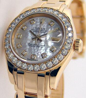 ROLEX Ladies 18kt Gold PearlMaster Masterpiece MOP Diamond Dial 80298 SANT BLANC