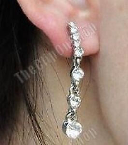 CLIP ON diamante CRYSTAL 4cm long DROP EARRINGS sparkly