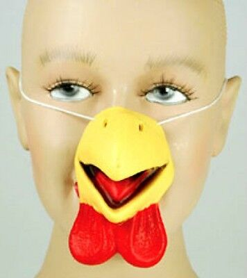 Deluxe YELLOW CHICKEN NOSE Latex Rubber Bird Bill Beak Costume Mask Toy Farm Red