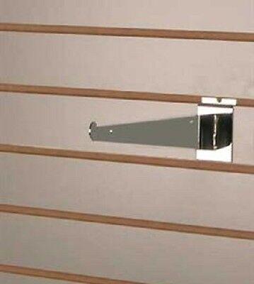 25 Slatwall 8 Knife Shelf Brackets Chrome Lip Retail Shelving Display Bracket