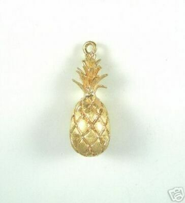 14k Gold Food Charm - 14K YELLOW GOLD PINEAPPLE CHARM Food