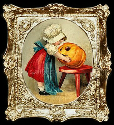 Halloween Pumpkin Carving Miniature Dollhouse Picture](Halloween Movie Pumpkin Carving)