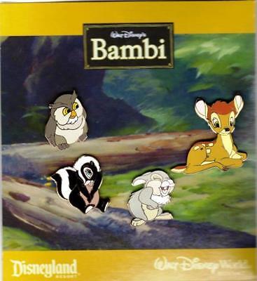 DISNEY BAMBI - THUMPER - OWL - FLOWER - RARE COLLECTOR PIN SET OF 4 - NEW