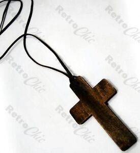 32-long-BIG-BROWN-WOOD-CROSS-NECKLACE-pendant-URBAN-hippy-RETRO-wooden-UNISEX