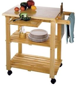Butcher Block Rolling Kitchen Island : Butcher Block Island Cart Table Kitchen Rack Cutting Board Shelf Rolling Stand eBay